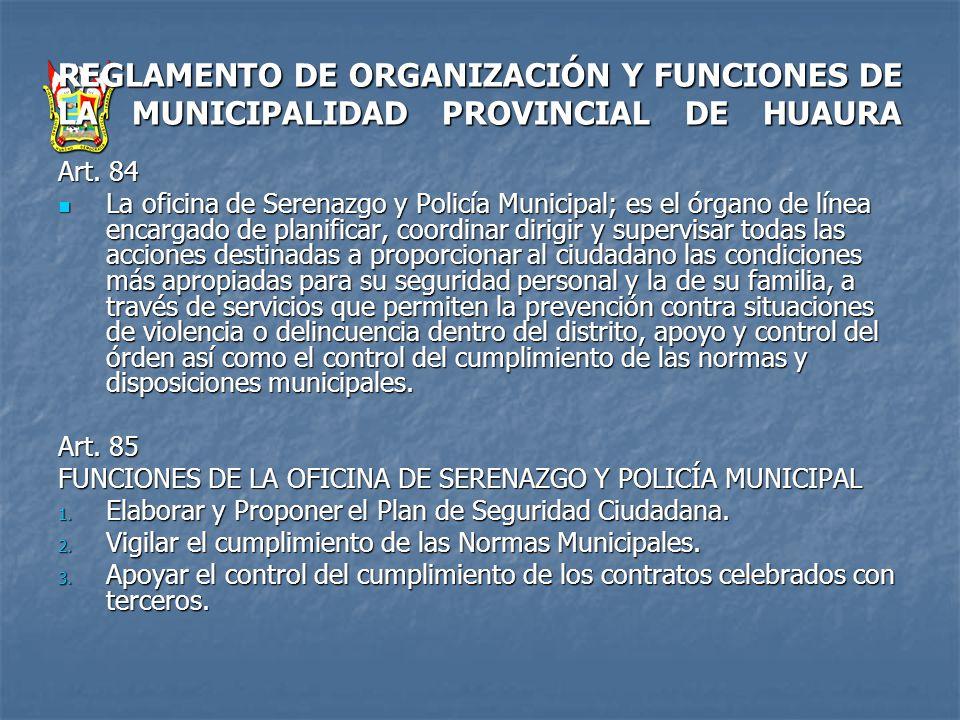 REGLAMENTO DE ORGANIZACIÓN Y FUNCIONES DE LA MUNICIPALIDAD PROVINCIAL DE HUAURA