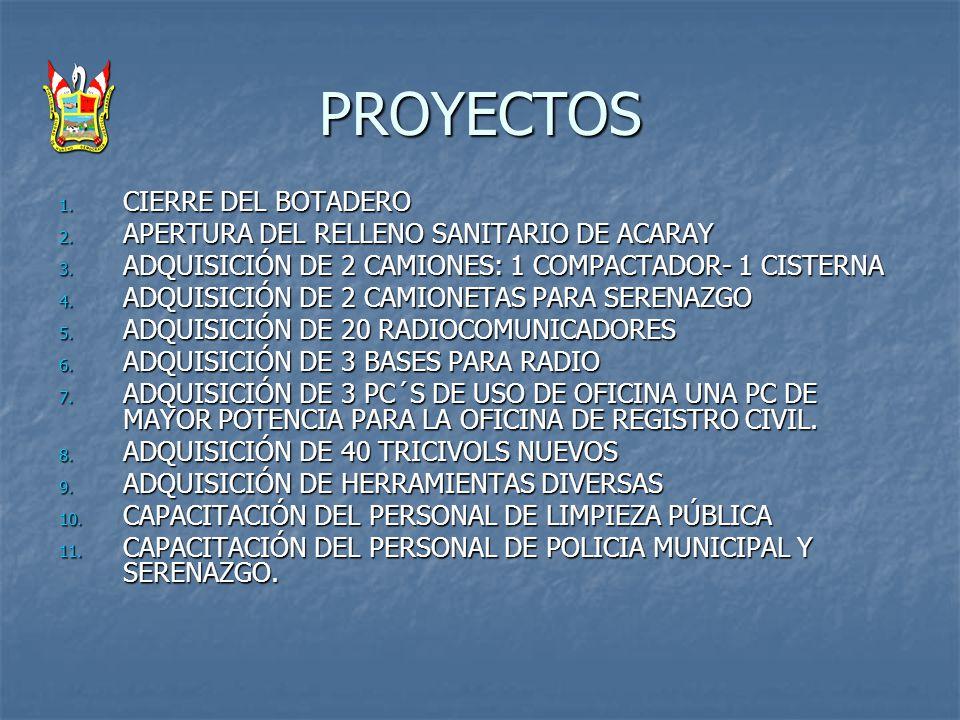PROYECTOS CIERRE DEL BOTADERO APERTURA DEL RELLENO SANITARIO DE ACARAY