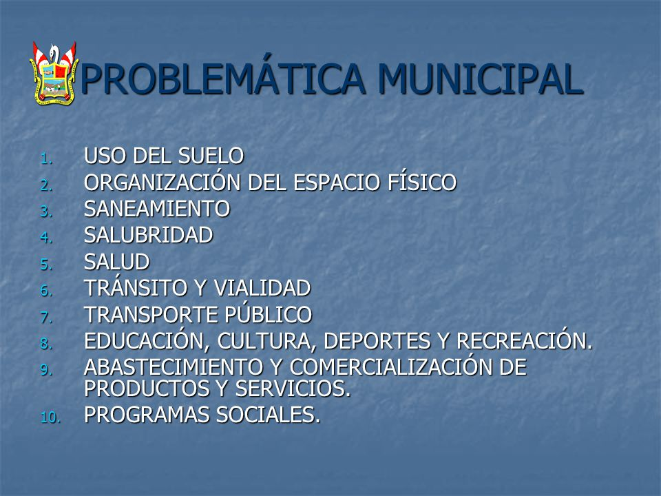 PROBLEMÁTICA MUNICIPAL