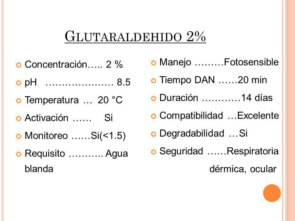 Glutaraldehido 2% Manejo ………Fotosensible Concentración….. 2 %