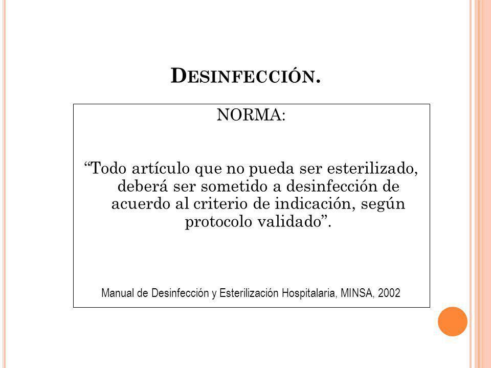 Manual de Desinfección y Esterilización Hospitalaria, MINSA, 2002