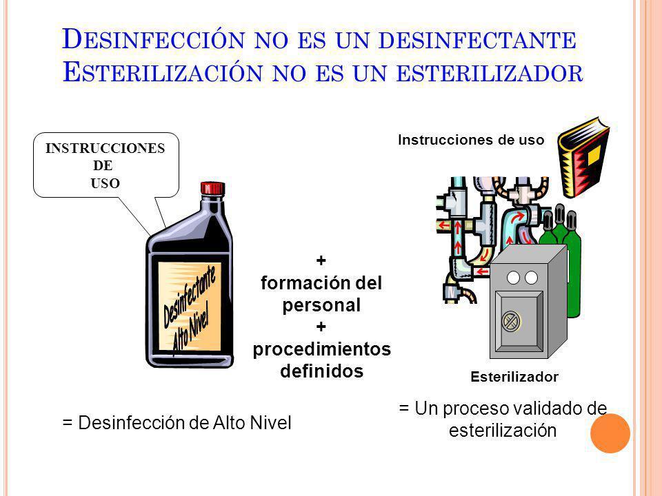 Desinfección no es un desinfectante Esterilización no es un esterilizador