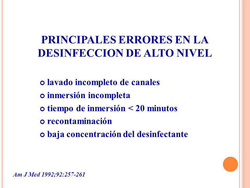 PRINCIPALES ERRORES EN LA DESINFECCION DE ALTO NIVEL
