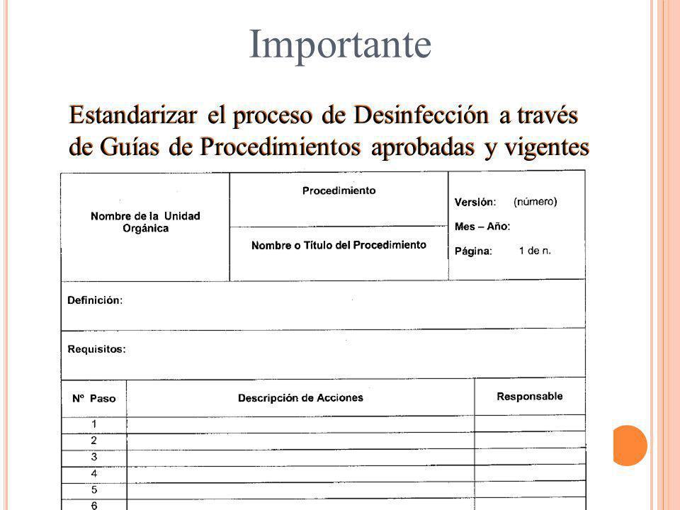Importante Estandarizar el proceso de Desinfección a través de Guías de Procedimientos aprobadas y vigentes.