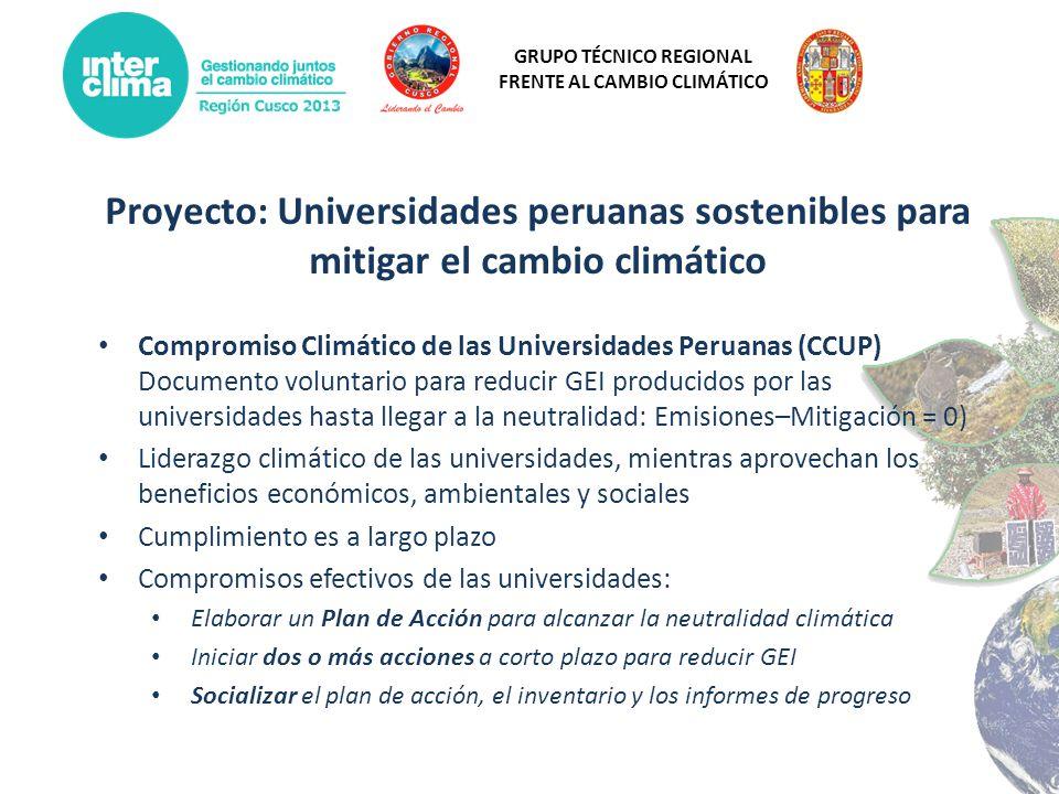 Proyecto: Universidades peruanas sostenibles para mitigar el cambio climático