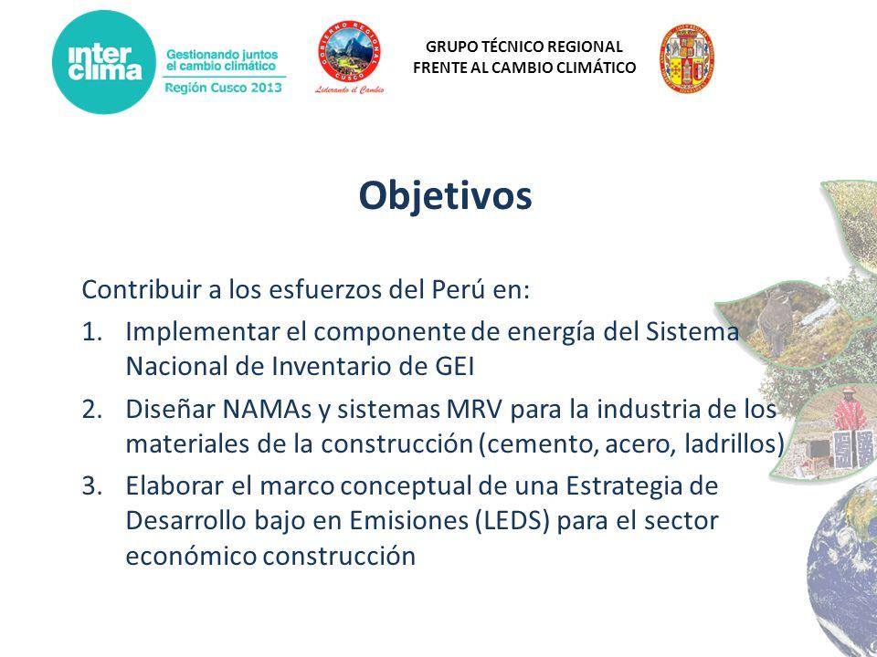 Objetivos Contribuir a los esfuerzos del Perú en: