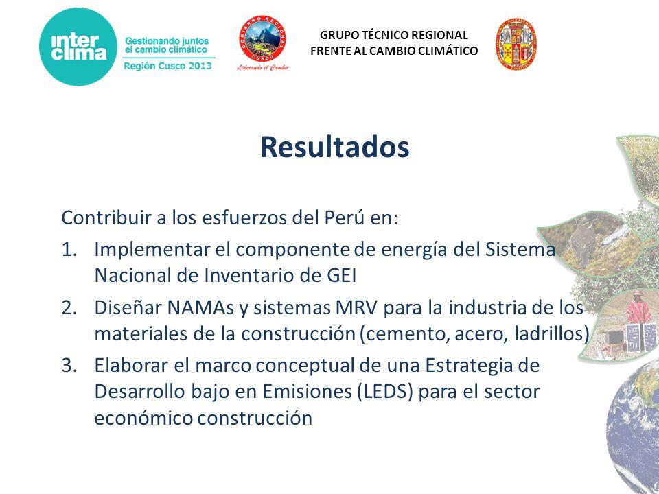 Resultados Contribuir a los esfuerzos del Perú en: