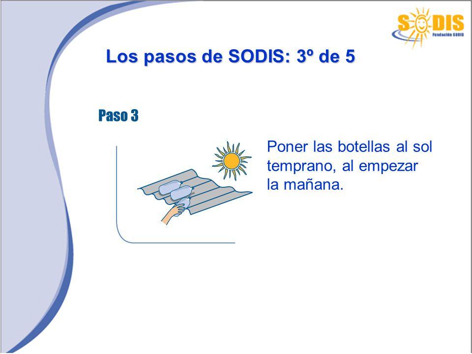 Los pasos de SODIS: 3º de 5 Poner las botellas al sol temprano, al empezar la mañana.