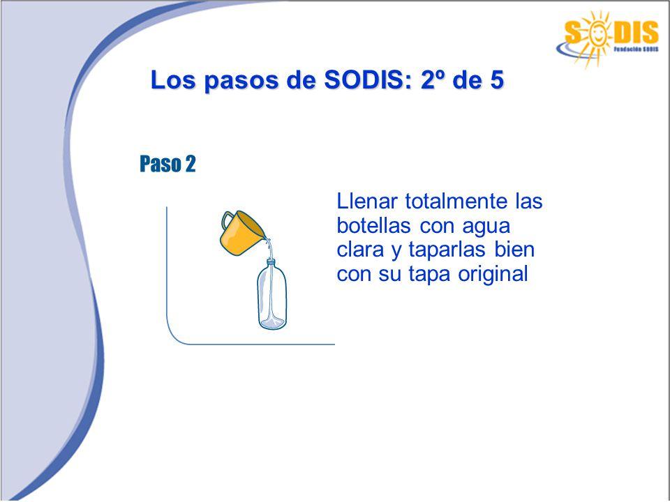 Los pasos de SODIS: 2º de 5 Llenar totalmente las botellas con agua clara y taparlas bien con su tapa original.