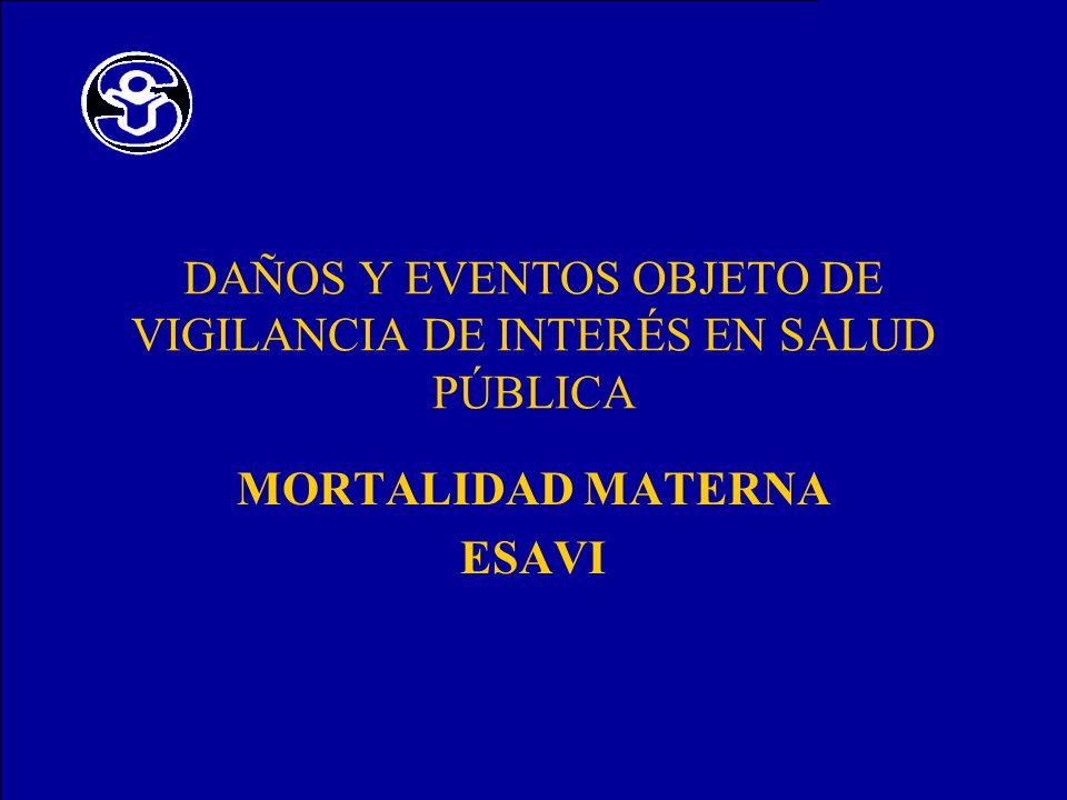 DAÑOS Y EVENTOS OBJETO DE VIGILANCIA DE INTERÉS EN SALUD PÚBLICA