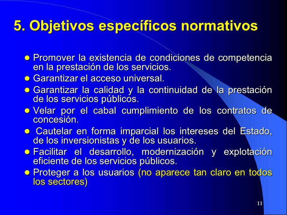 5. Objetivos específicos normativos