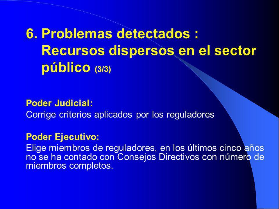 6. Problemas detectados : Recursos dispersos en el sector