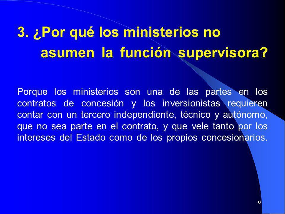 3. ¿Por qué los ministerios no asumen la función supervisora