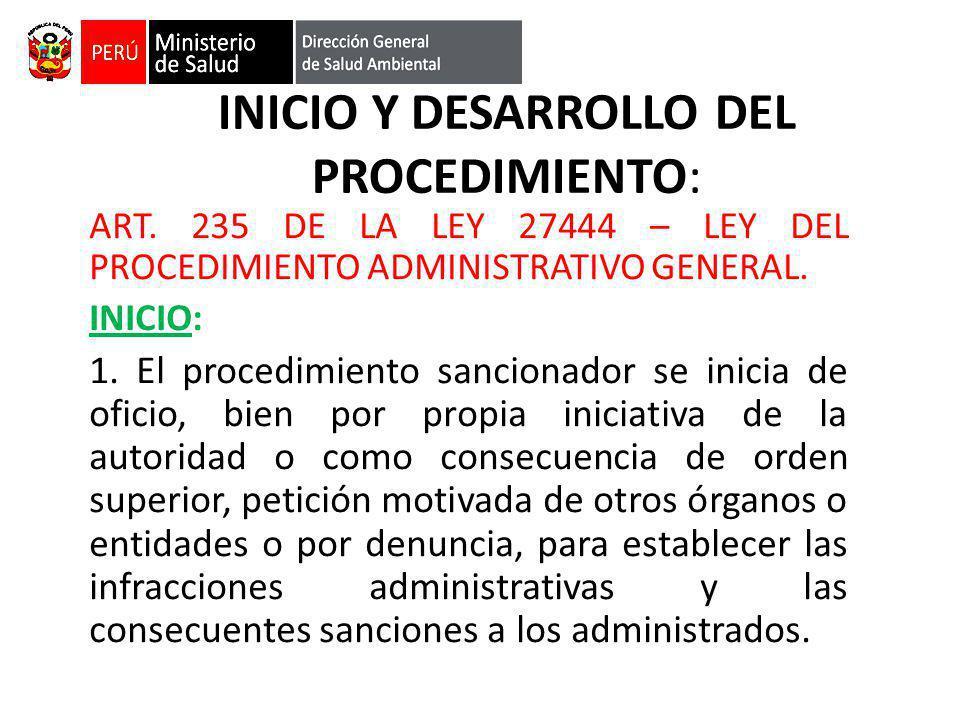 INICIO Y DESARROLLO DEL PROCEDIMIENTO: