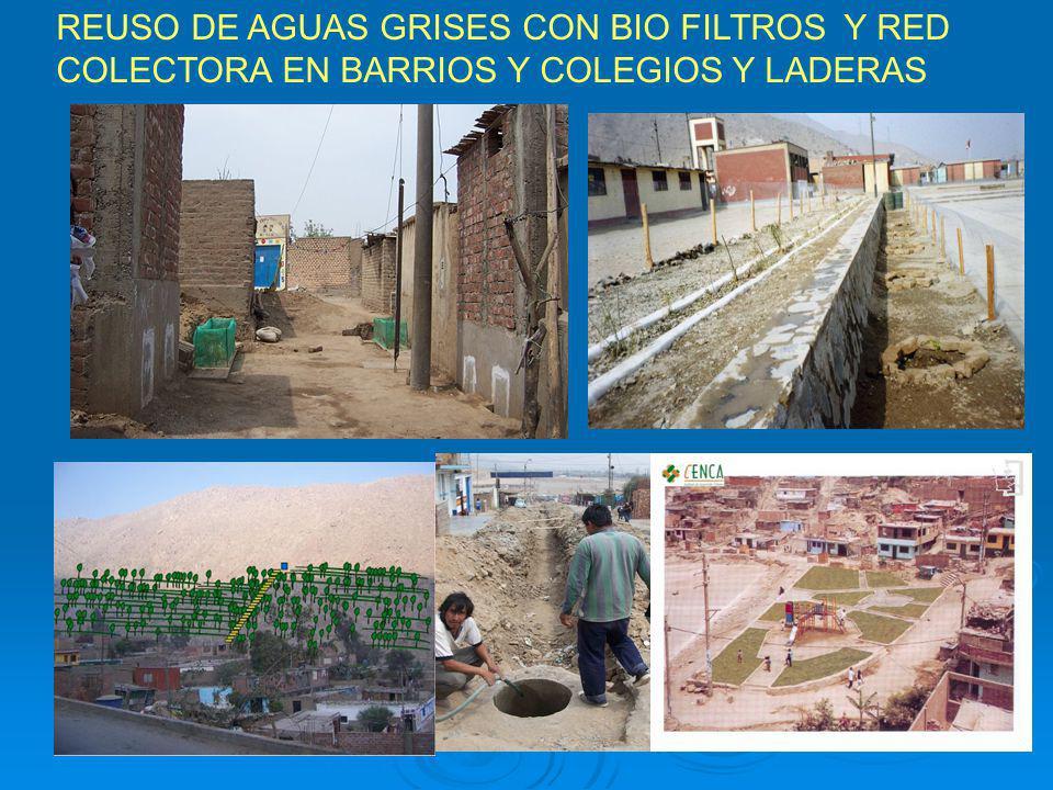 REUSO DE AGUAS GRISES CON BIO FILTROS Y RED COLECTORA EN BARRIOS Y COLEGIOS Y LADERAS