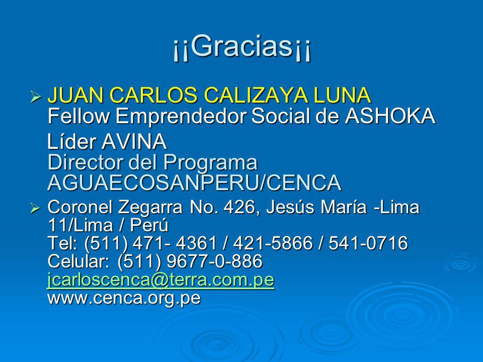 ¡¡Gracias¡¡ JUAN CARLOS CALIZAYA LUNA Fellow Emprendedor Social de ASHOKA. Líder AVINA Director del Programa AGUAECOSANPERU/CENCA.