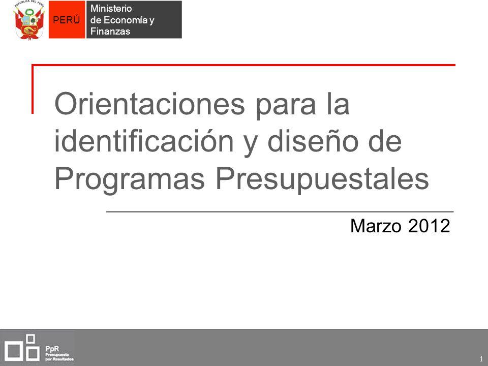 Orientaciones para la identificación y diseño de Programas Presupuestales