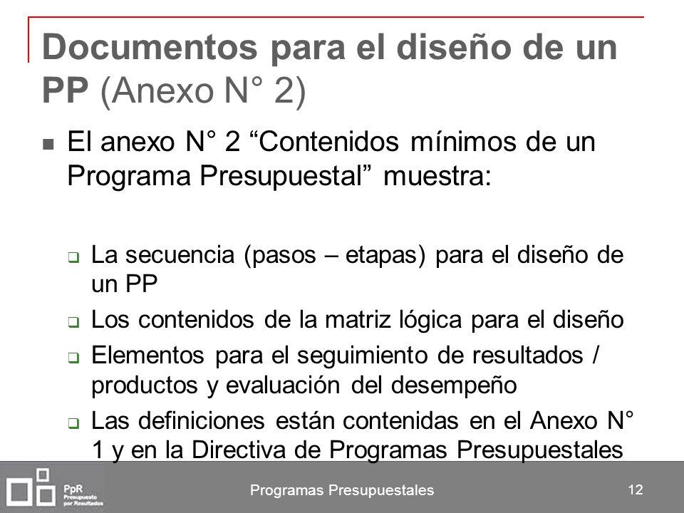Documentos para el diseño de un PP (Anexo N° 2)