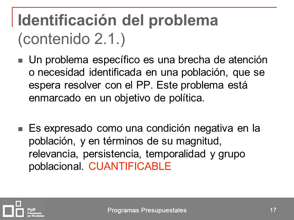 Identificación del problema (contenido 2.1.)