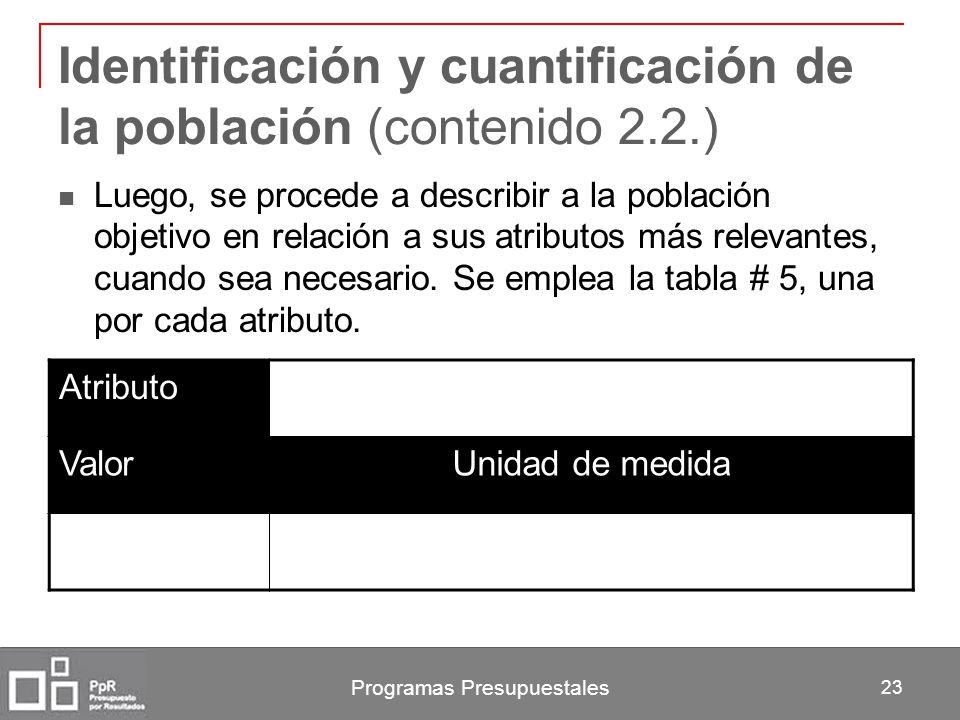 Identificación y cuantificación de la población (contenido 2.2.)