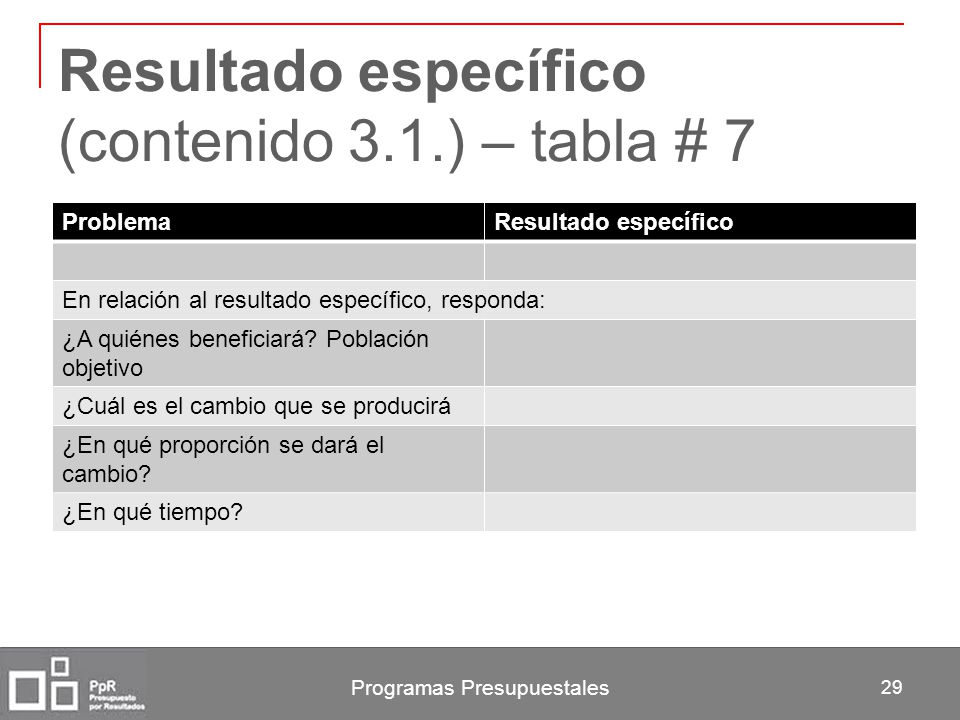 Resultado específico (contenido 3.1.) – tabla # 7