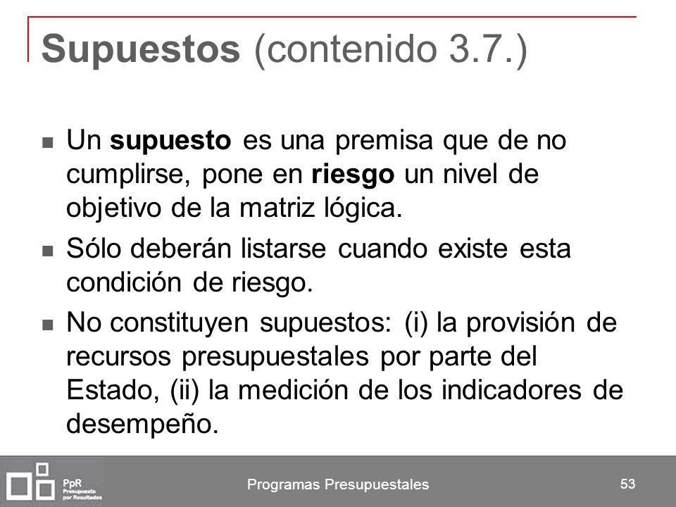 Supuestos (contenido 3.7.)