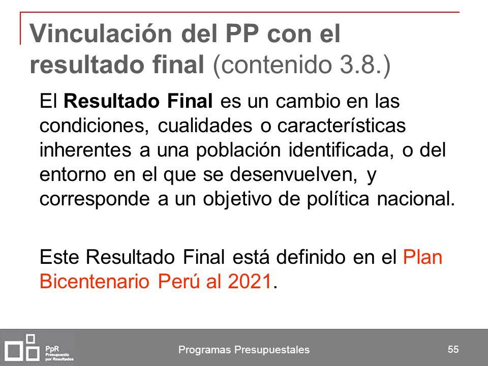 Vinculación del PP con el resultado final (contenido 3.8.)
