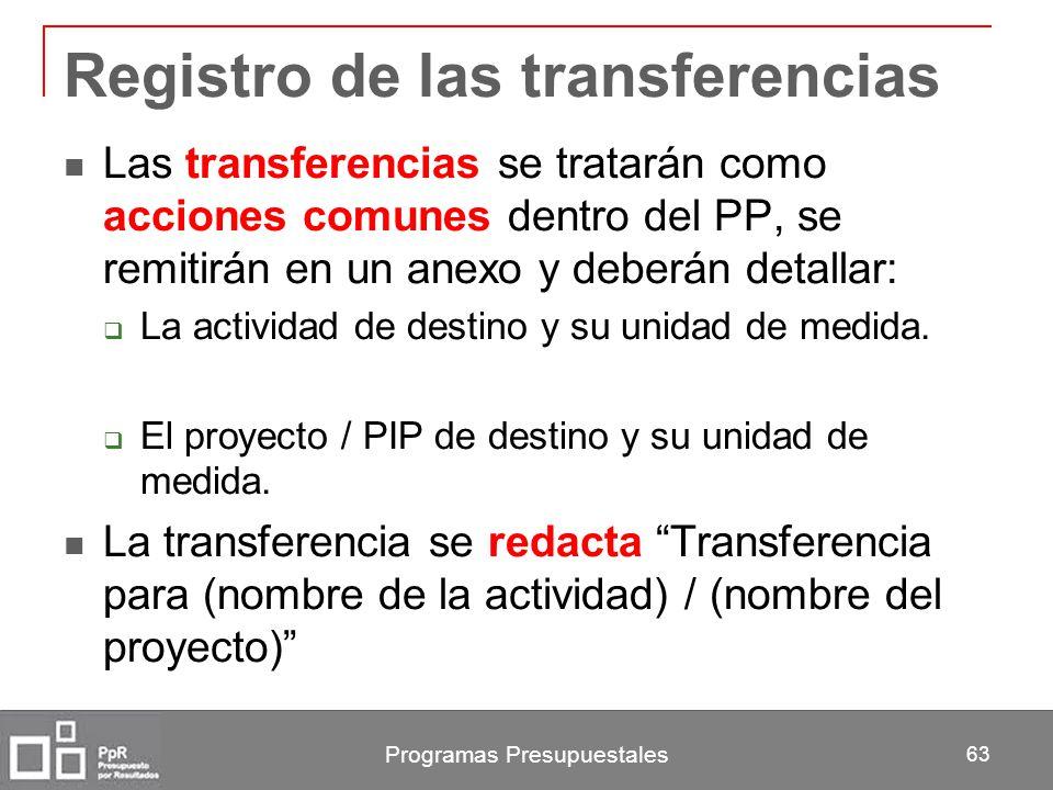 Registro de las transferencias