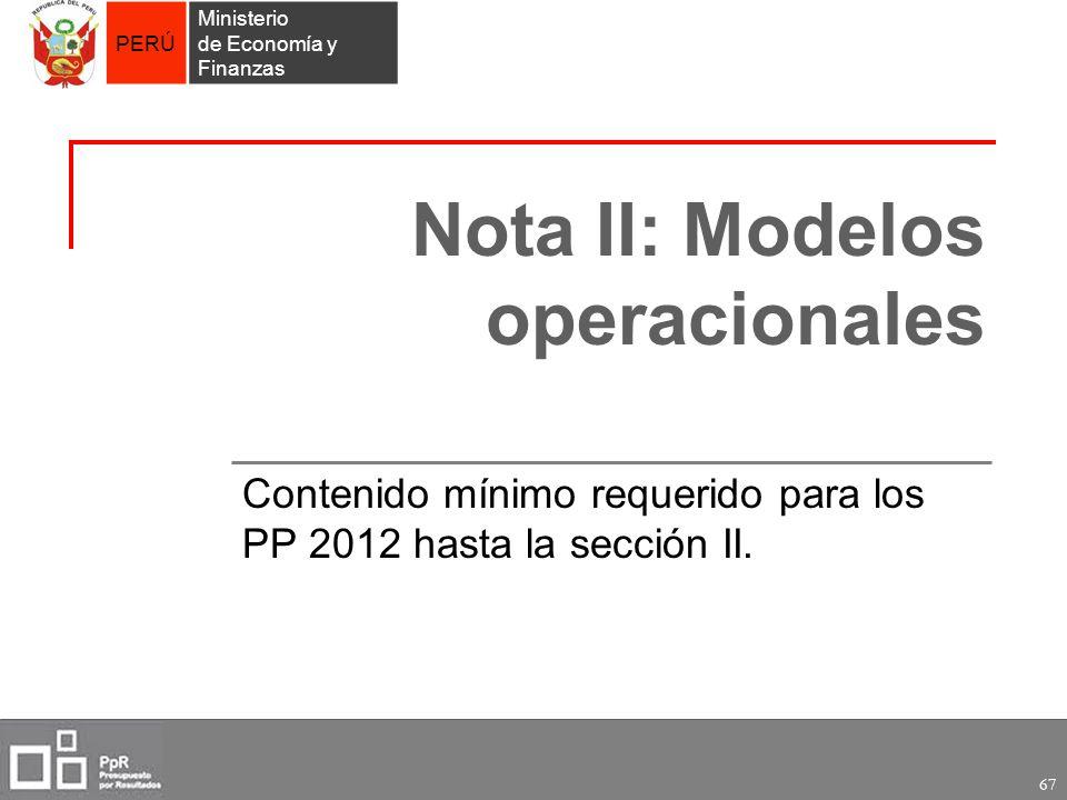 Nota II: Modelos operacionales