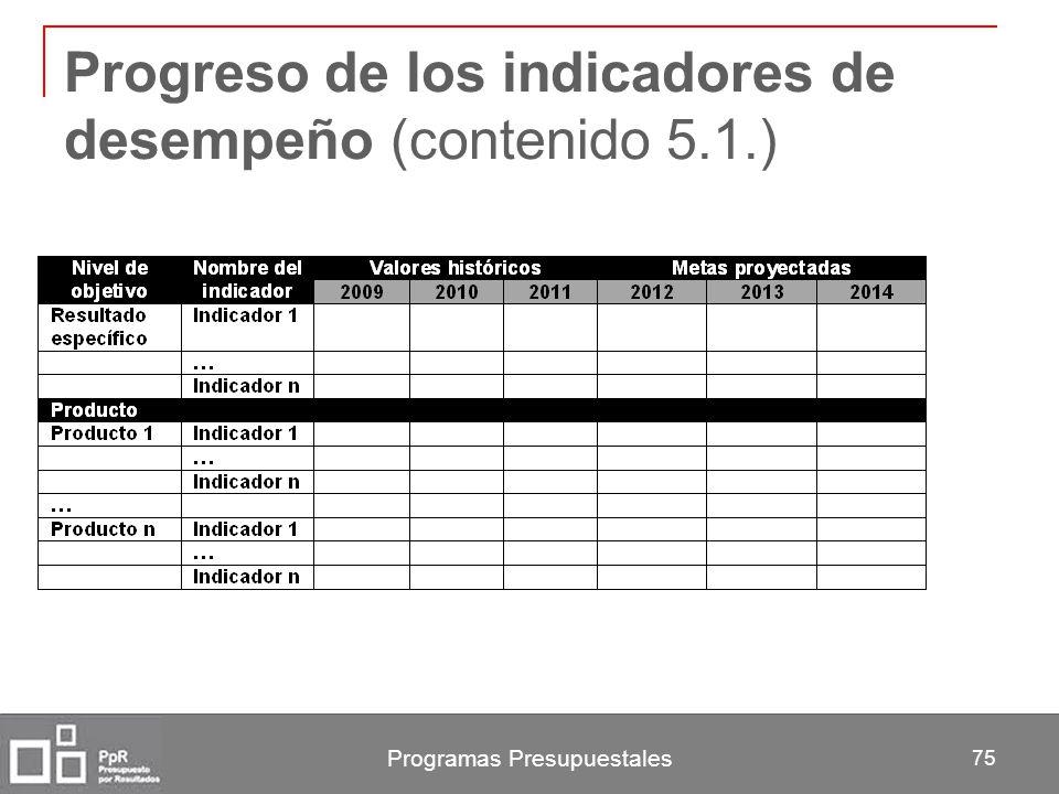 Progreso de los indicadores de desempeño (contenido 5.1.)