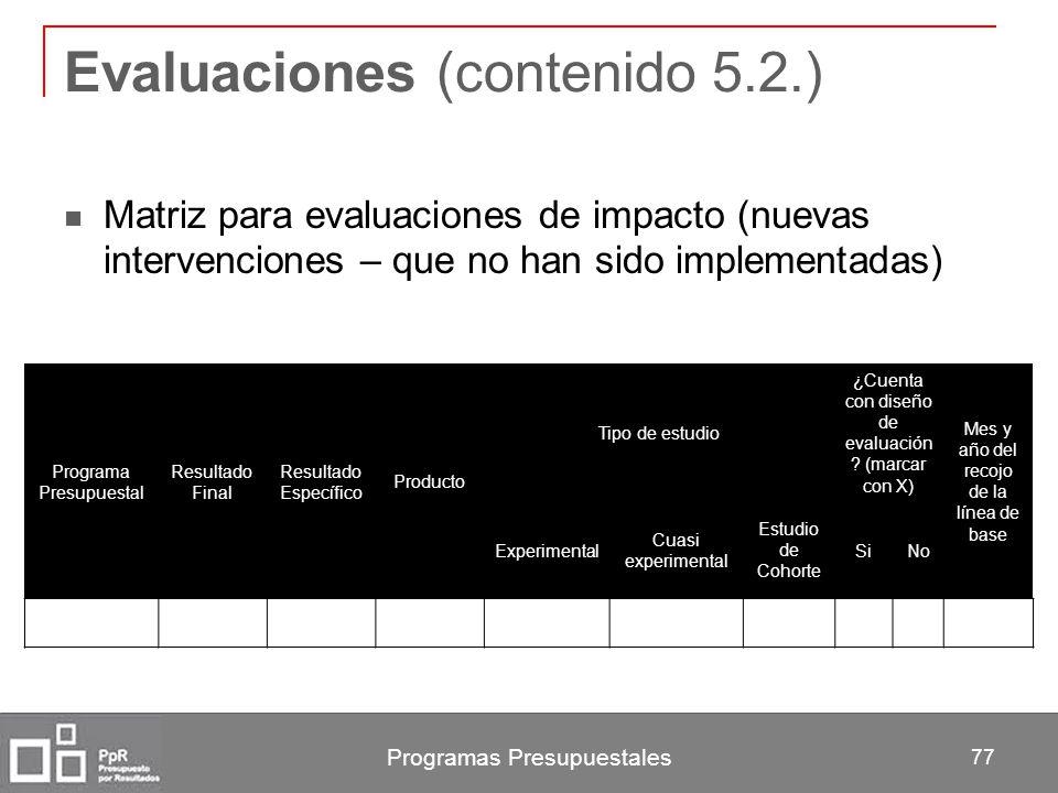 Evaluaciones (contenido 5.2.)