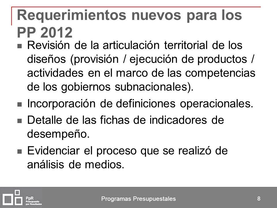 Requerimientos nuevos para los PP 2012