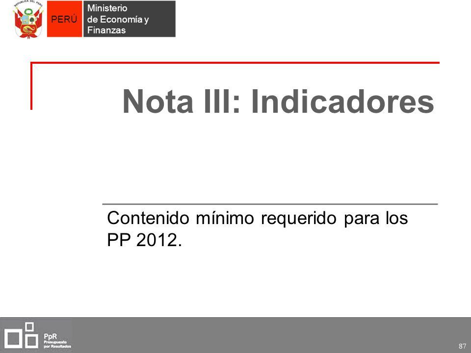 Contenido mínimo requerido para los PP 2012.