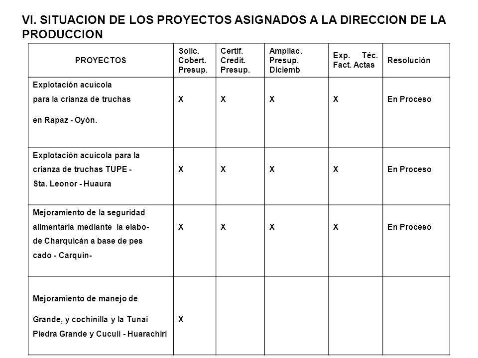 VI. SITUACION DE LOS PROYECTOS ASIGNADOS A LA DIRECCION DE LA PRODUCCION