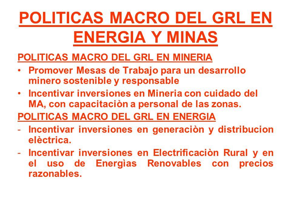 POLITICAS MACRO DEL GRL EN ENERGIA Y MINAS