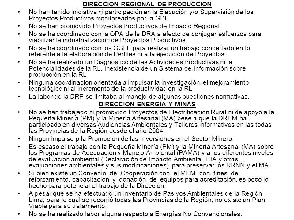 DIRECCION REGIONAL DE PRODUCCION DIRECCION ENERGIA Y MINAS