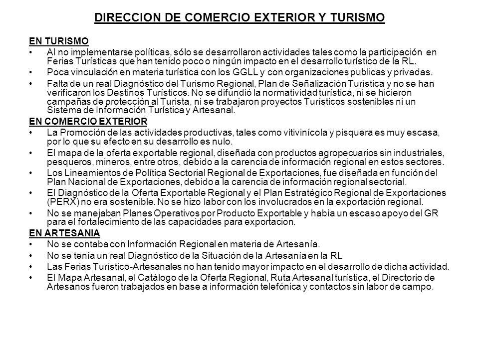 DIRECCION DE COMERCIO EXTERIOR Y TURISMO