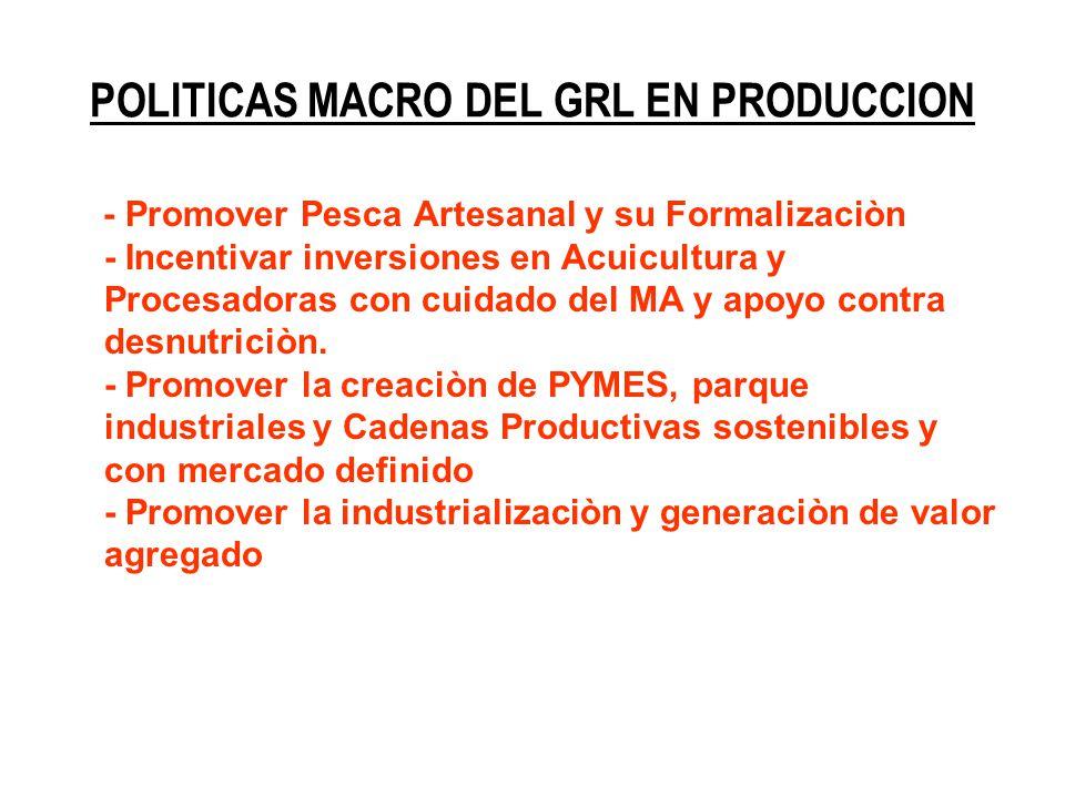 POLITICAS MACRO DEL GRL EN PRODUCCION