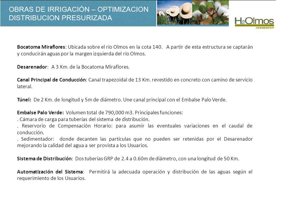Bocatoma Miraflores: Ubicada sobre el río Olmos en la cota 140