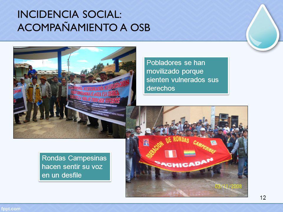 INCIDENCIA SOCIAL: ACOMPAÑAMIENTO A OSB