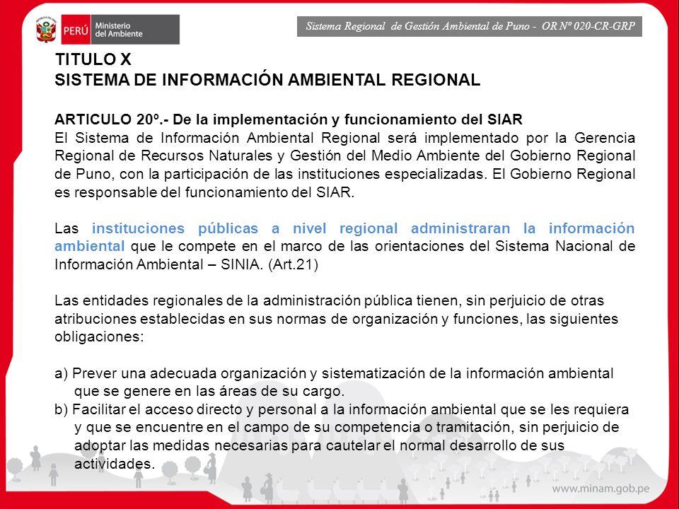SISTEMA DE INFORMACIÓN AMBIENTAL REGIONAL