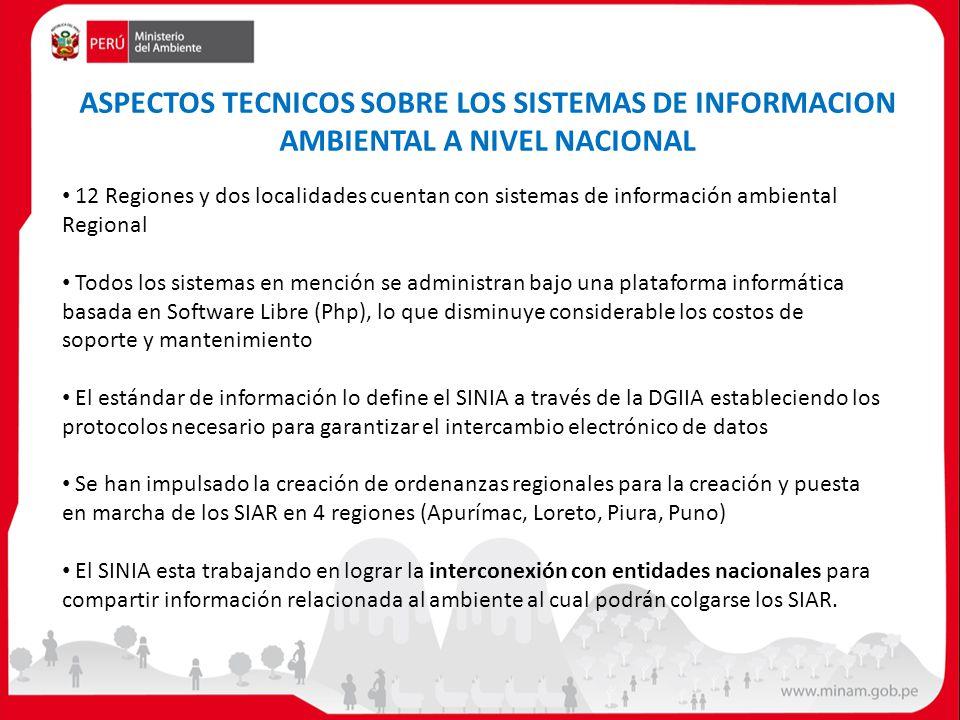 ASPECTOS TECNICOS SOBRE LOS SISTEMAS DE INFORMACION AMBIENTAL A NIVEL NACIONAL