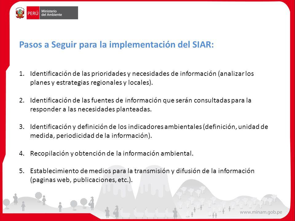 Pasos a Seguir para la implementación del SIAR: