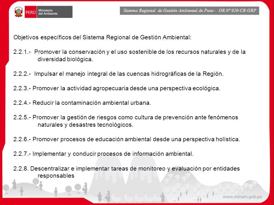 Objetivos específicos del Sistema Regional de Gestión Ambiental: