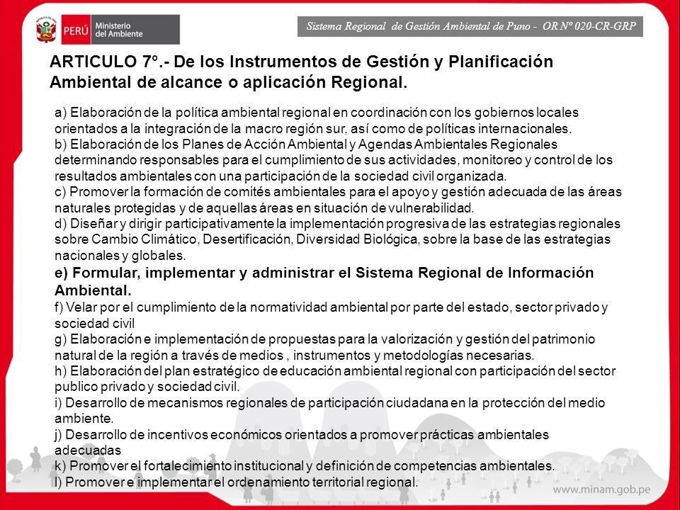 Sistema Regional de Gestión Ambiental de Puno - OR Nº 020-CR-GRP