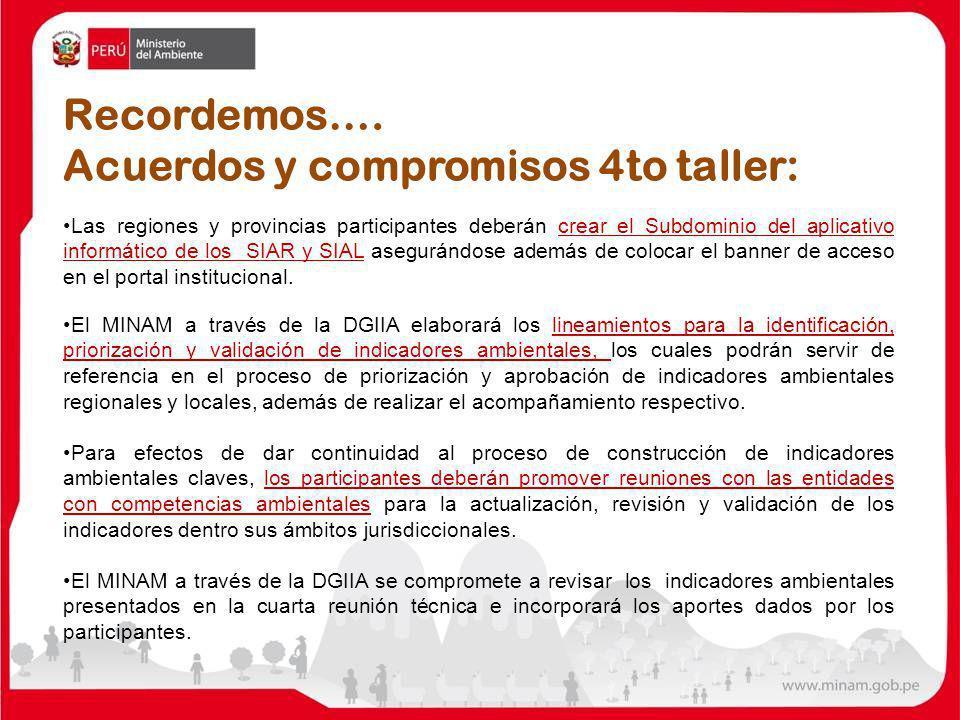 Acuerdos y compromisos 4to taller:
