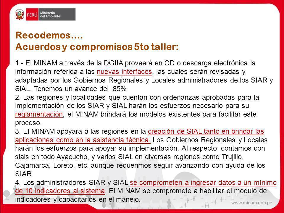 Acuerdos y compromisos 5to taller: