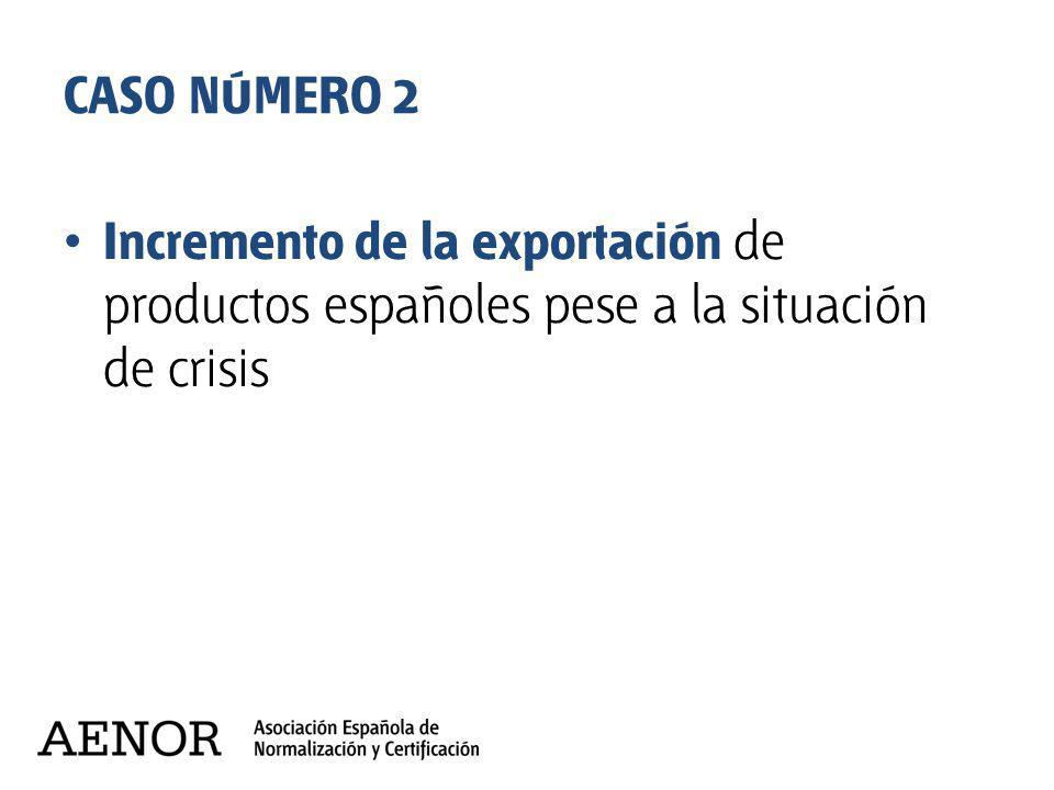 CASO NÚMERO 2 Incremento de la exportación de productos españoles pese a la situación de crisis