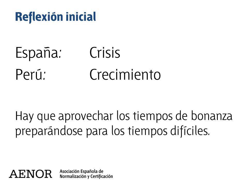 España: Crisis Perú: Crecimiento Reflexión inicial