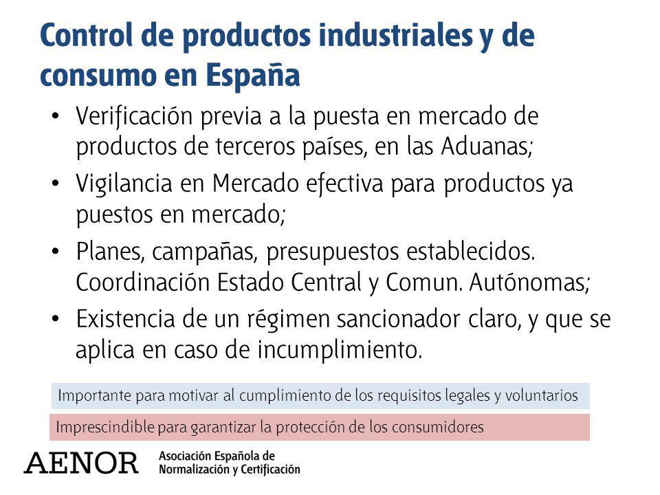 Control de productos industriales y de consumo en España